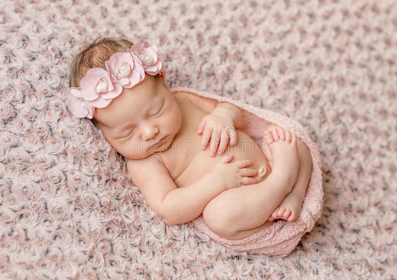 Lovely newborn curled up asleep, wrapped in pink diaper. On knitted blanket royalty free stock photography