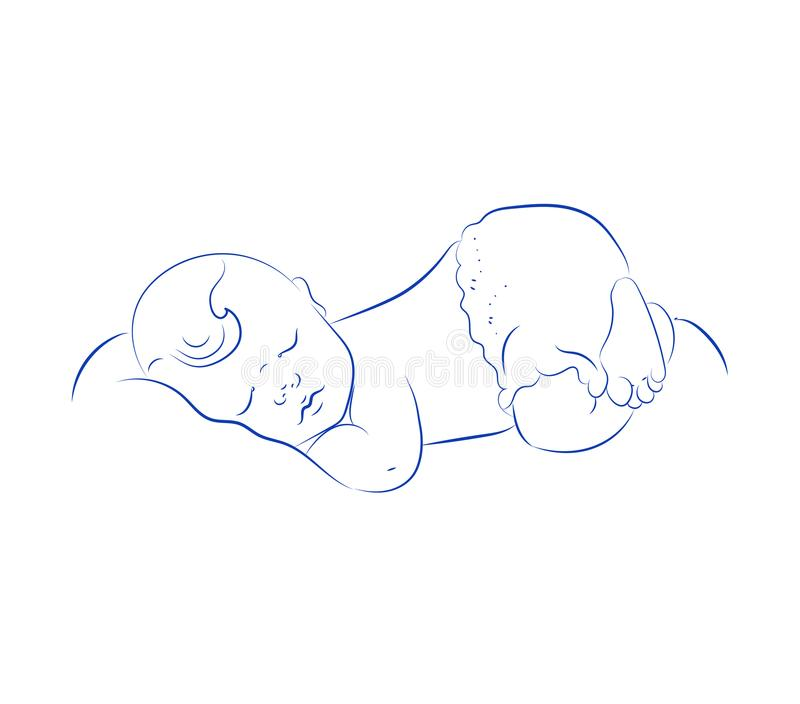 Lovely Newborn Sleeping Vector. Cute Little Sleeping Child. Contour Sketch, Hand Drawn. stock illustration