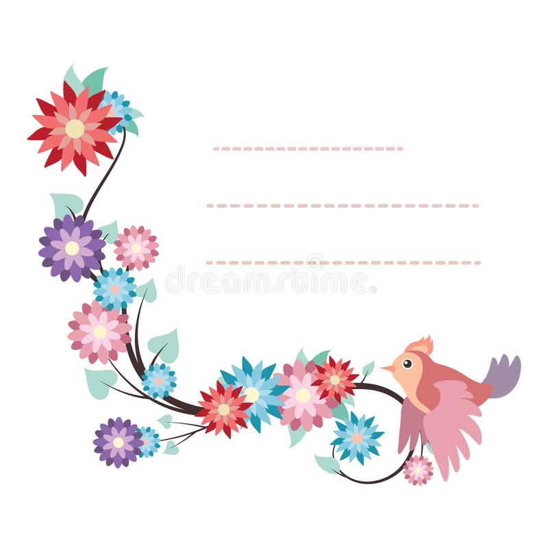 Lovely notepad template with bird and colorful flower design. Lovely notepad template with bird and flower design vector illustration