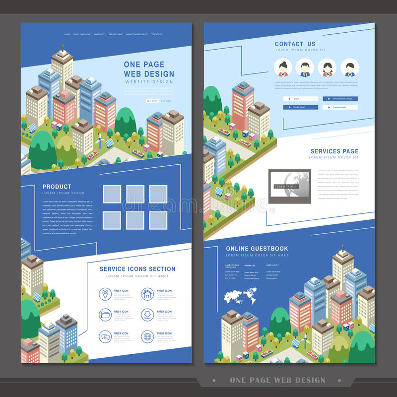 Lovely one page website template design vector illustration