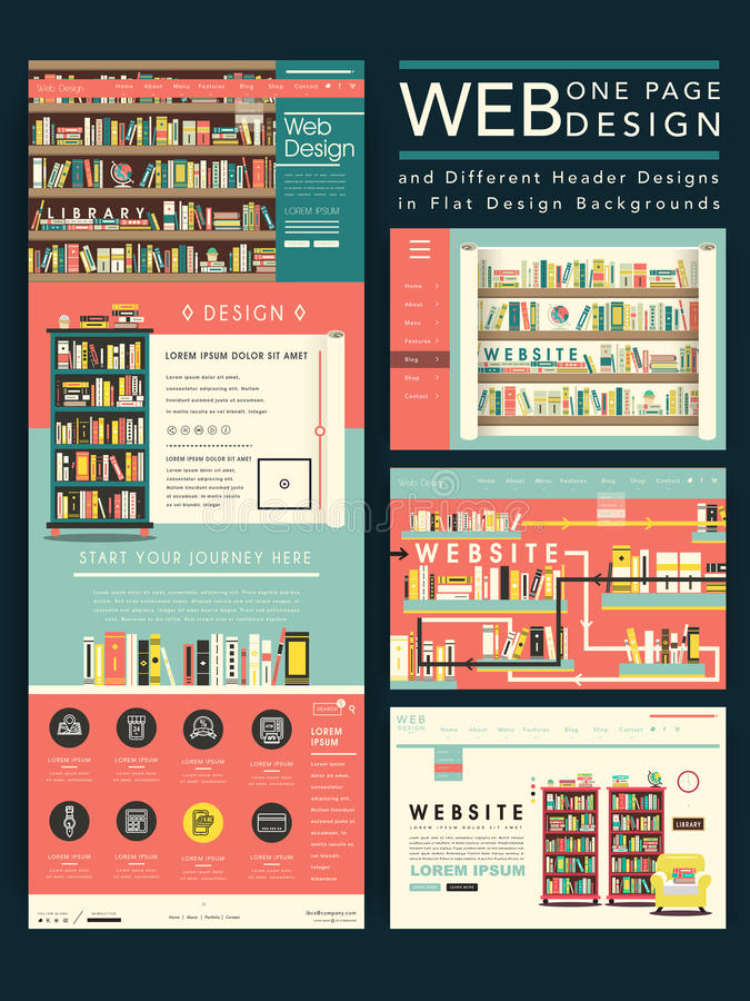 Lovely one page website template design with library scene stock illustration