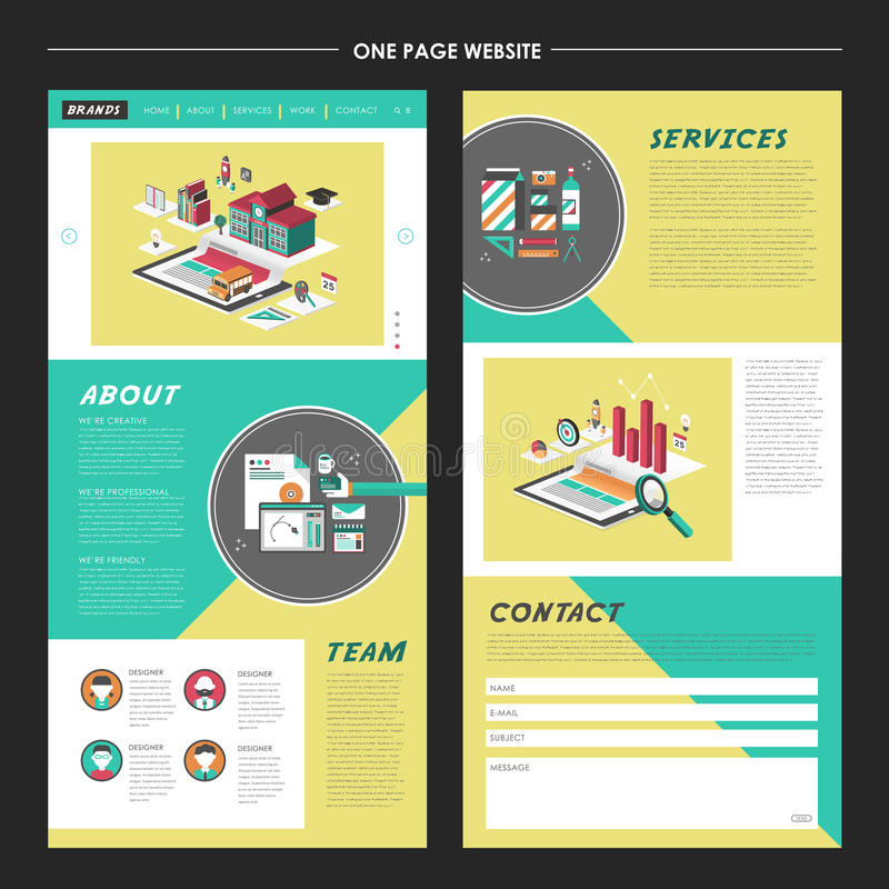 Lovely one page website template design royalty free illustration
