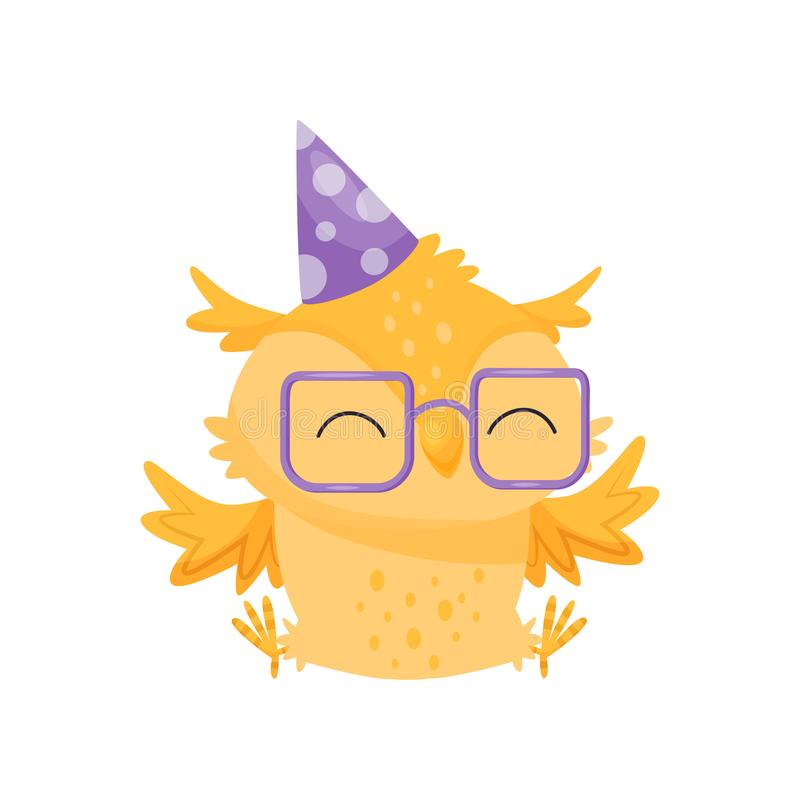 Lovely orange owlet in glasses and party hat, cute bird cartoon character, design element for Birthday party vector. Illustration isolated on a white background royalty free illustration
