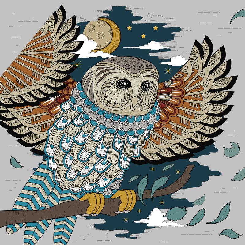 Lovely owl coloring page stock illustration