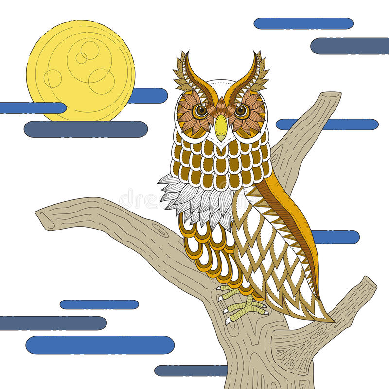 lovely owl coloring page royalty free illustration
