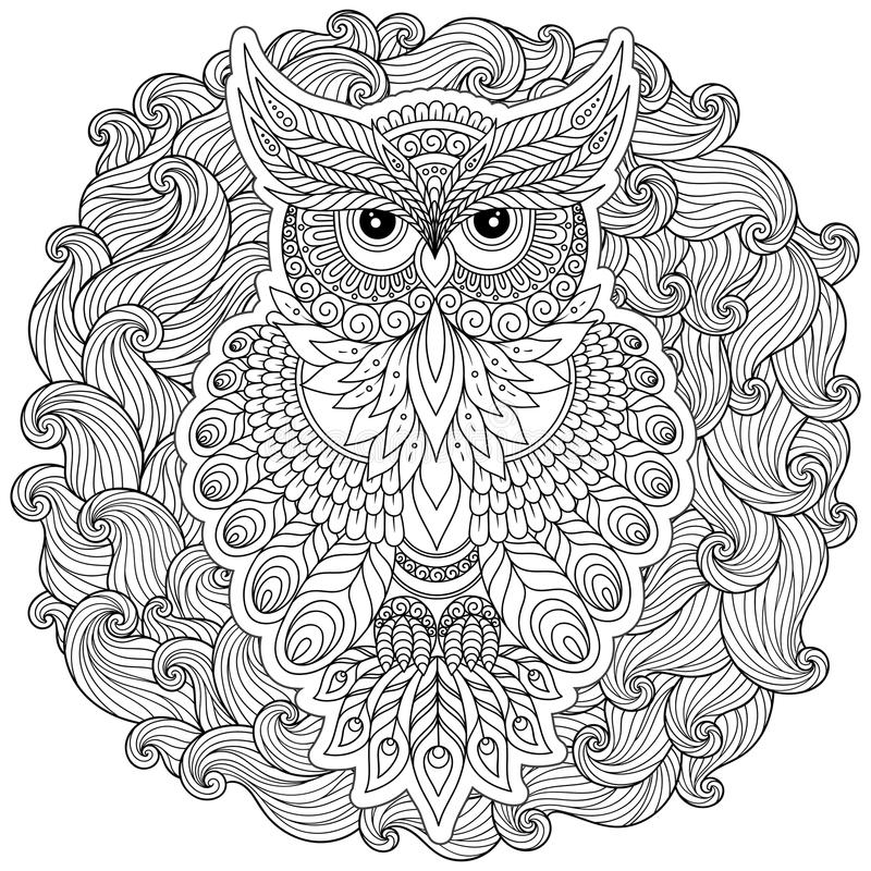 Coloring page with cute owl and floral frame. royalty free illustration