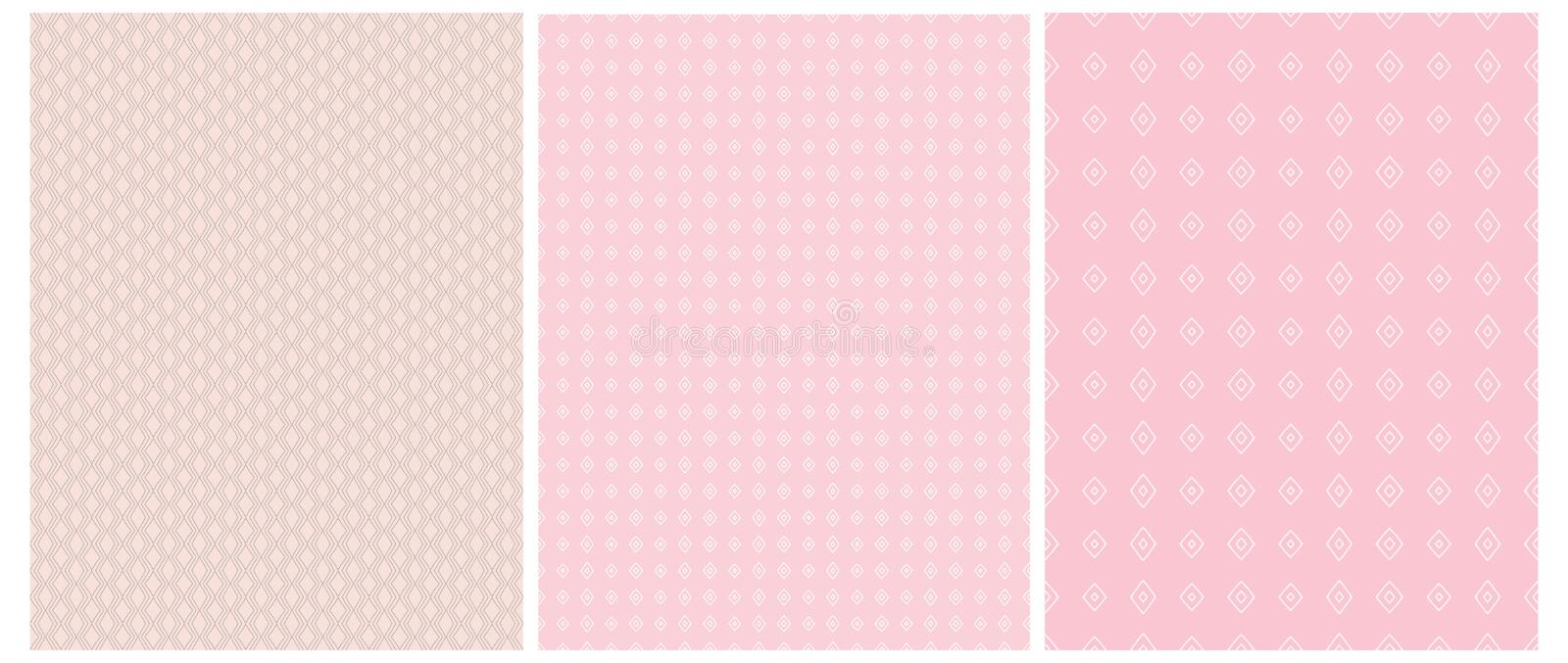 Abstract Geometric Seamless Vector Prints. White Squares Isolated on a Various Pink Backgrounds. stock illustration