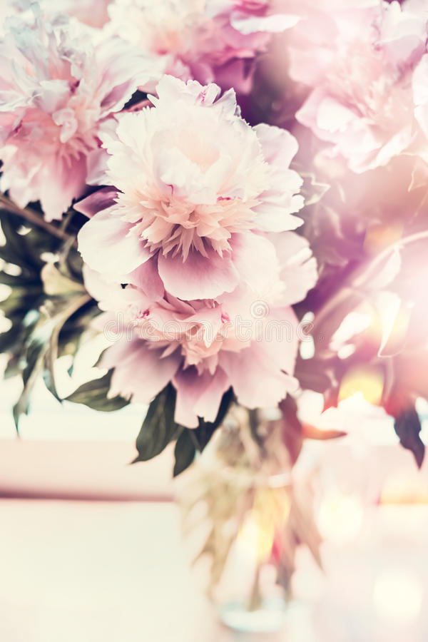 Lovely peonies bunch in glass vase on table with bokeh lighting. Romantic flowers bouquet, front view. Pastel color stock photography