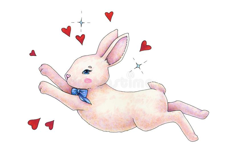Lovely pink animation hare with a bow is isolated on a white background. Children`s fantastic drawing. Handwork color drawing mar stock illustration
