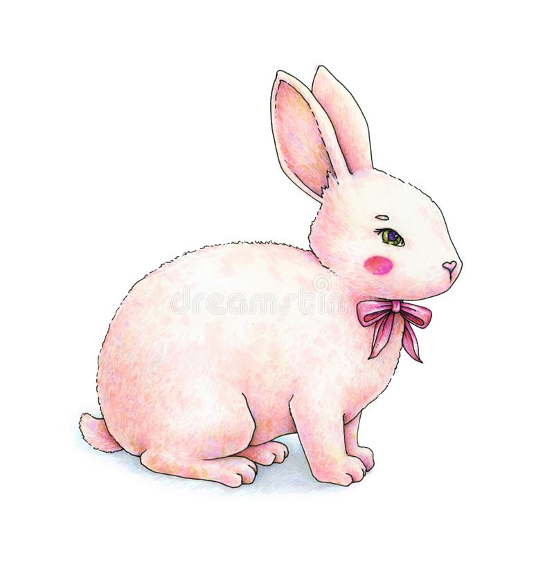 Lovely pink animation hare with a bow is isolated on a white background. Children`s fantastic drawing. Handwork color drawing royalty free illustration