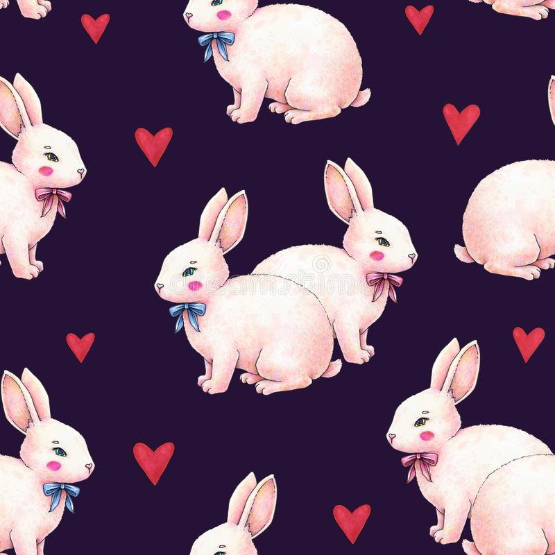 Lovely pink animation rabbit bunny hare with a bow in love on darkly blue background. Children fantastic drawing. Handwork drawing royalty free illustration