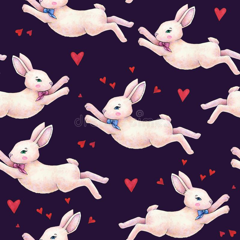 Lovely pink animation rabbit bunny hare with a bow in love on darkly blue background. Children fantastic drawing. Handwork drawing stock illustration
