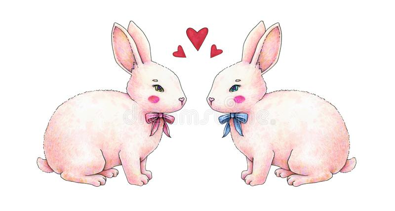 Lovely pink animation rabbit bunny hare with a bow in love is isolated on a white background. Children fantastic drawing. Handwork stock illustration