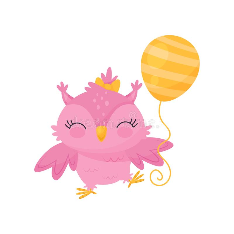 Lovely pink owlet with balloon, cute bird cartoon character, design element for Birthday party vector Illustration. Isolated on a white background vector illustration