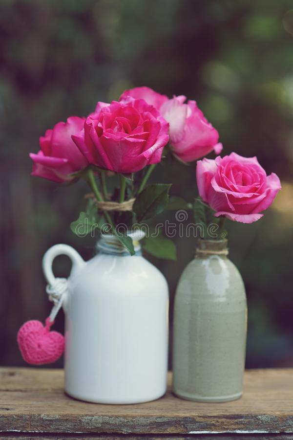Lovely pinky blossom rose in vase on wooden table with white wall background, sweet gift concept. Copy space royalty free stock images