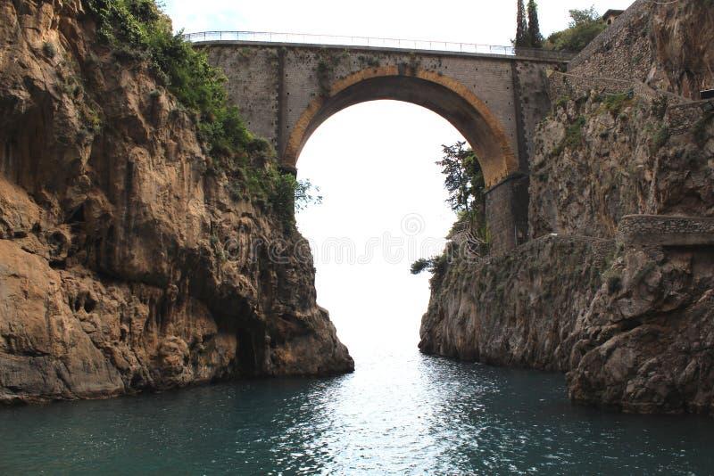 Curious beach in Amalfi Coast stock image
