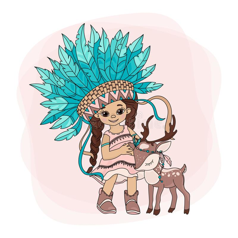 LOVELY POCAHONTAS Indians Princess Vector Illustration Set vector illustratie