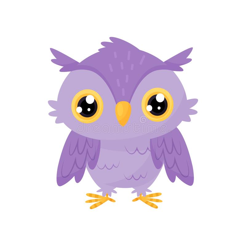 Lovely purple owlet, cute bird cartoon character, design element for Birthday party vector Illustration on a white. Lovely purple owlet, cute bird cartoon royalty free illustration