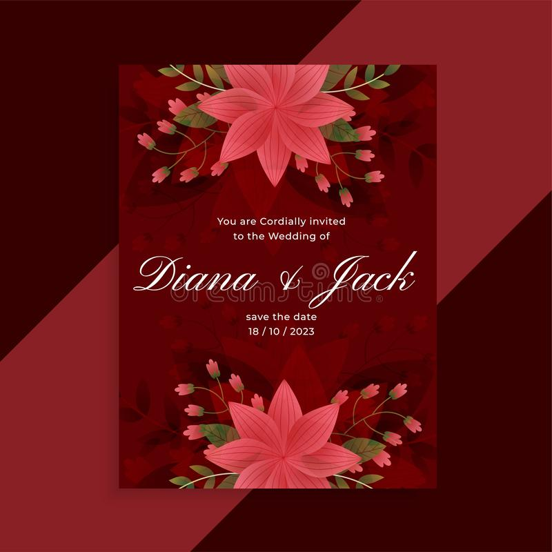 Lovely red wedding invitation floral card design vector illustration