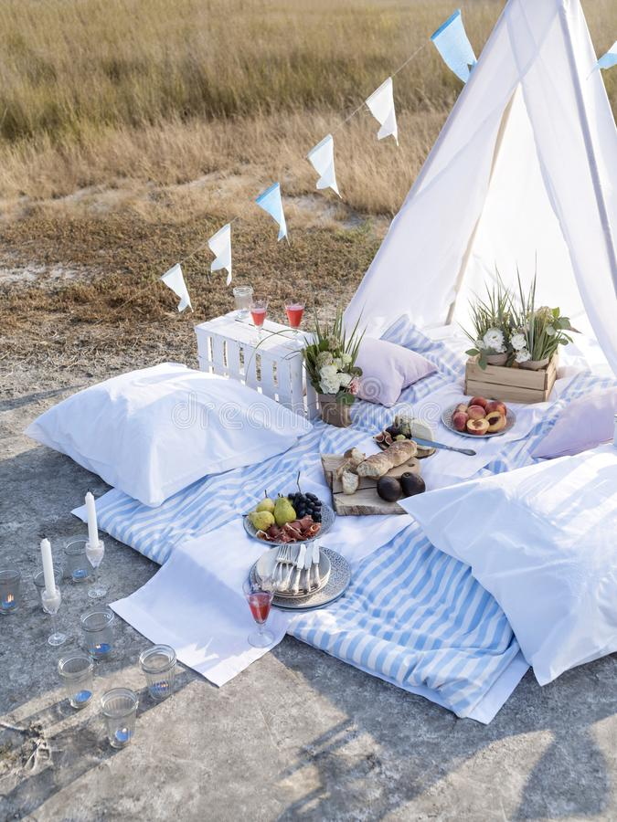 Lovely romantic glamping for two. stock image