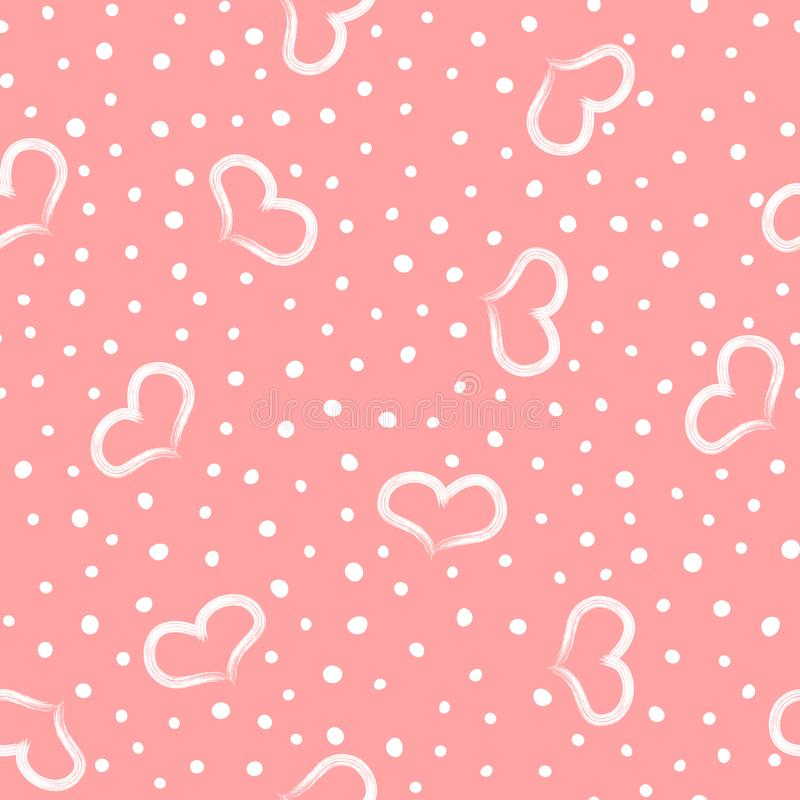 Lovely romantic seamless pattern. Repeated hearts and round dots drawn by hand. vector illustration