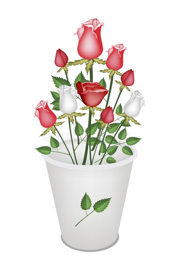 Download A Lovely Roses Bouquet In White Bucket Stock Photo - Image: 33056466
