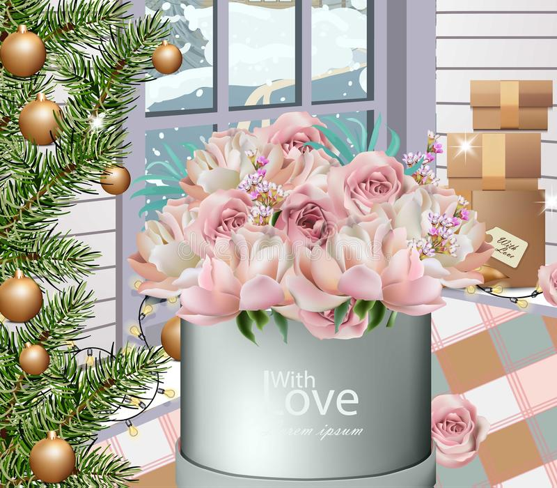 Lovely roses bouquet and winter decorations Vector realistic stock illustration
