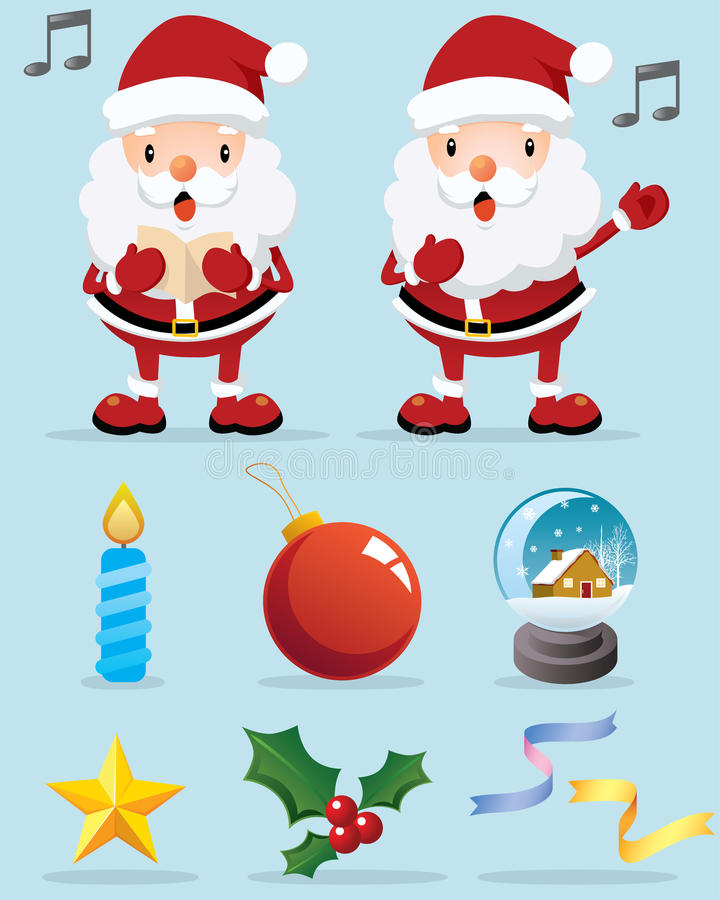 Download Lovely Santa Claus And Christmas Decoration Icon Stock Vector - Image: 11859368