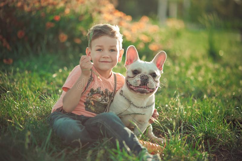 Lovely scene of friendship between handsome boy kid and bull dog doggy posing together in summer central park on green fresh grass. Wearing stylish clothes stock images