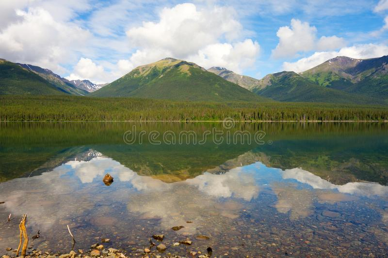 Mountains and trees reflected in a calm lake along the cassiar highway. A lovely scenic spot in the rockies as seen in northern british columbia in the royalty free stock images