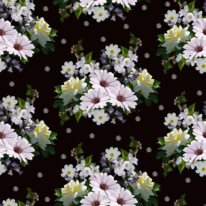 Lovely seamless pattern with bouquets of beautiful summer flowers. Print for fabric, wallpaper, wrapping paper royalty free stock photos