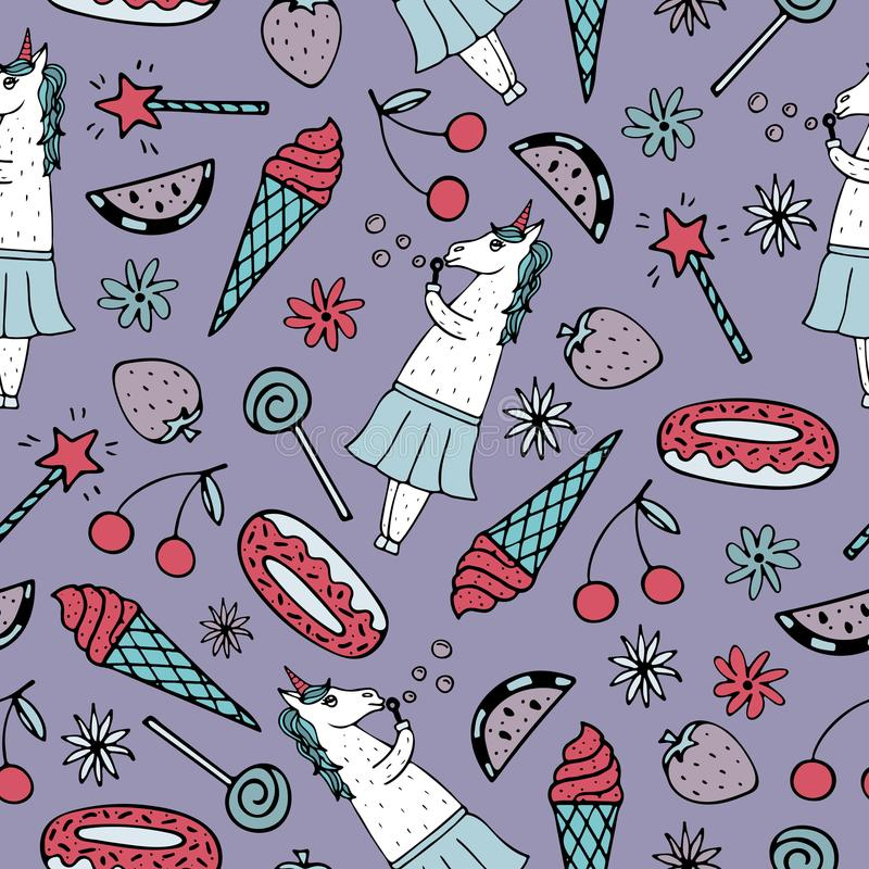 Lovely seamless pattern with hand-drawn unicorns and cute doodles stock illustration