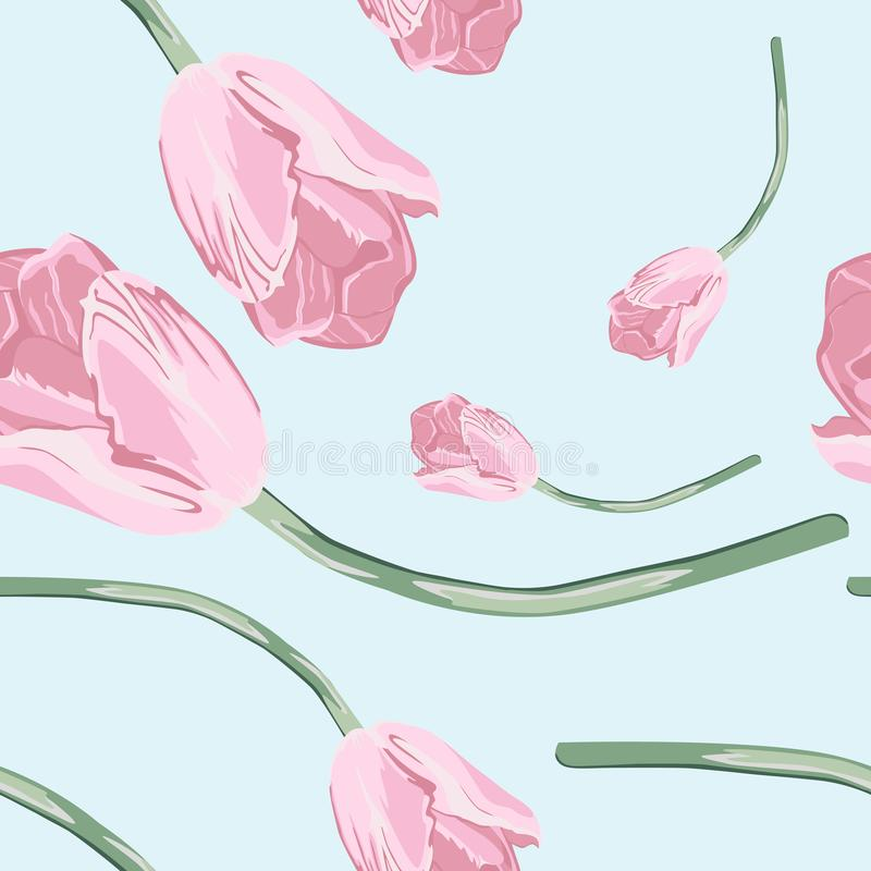 Lovely seamless pattern with pink tulip. Good for textile fabric design, wrapping paper and website wallpapers. vector illustration