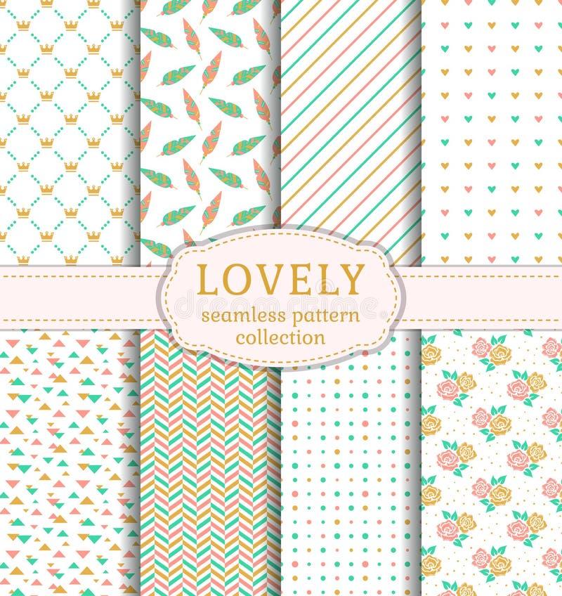 Lovely seamless patterns. Vector set. stock illustration