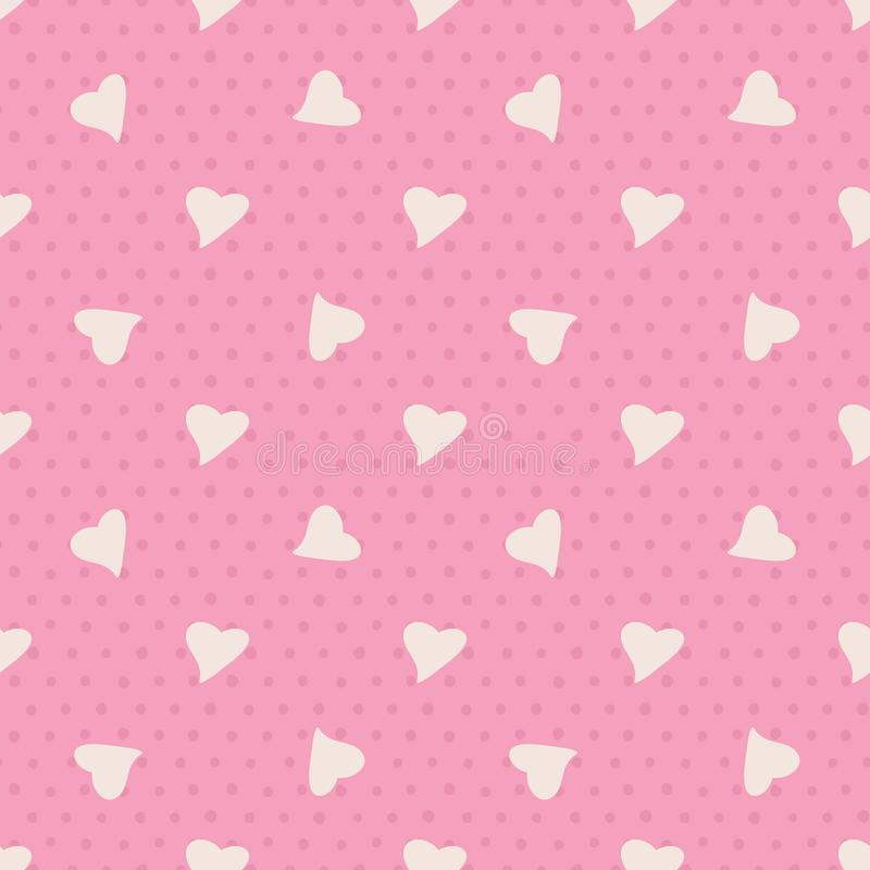 Lovely Seamless Vector Pattern with Random Heart and Dot on Pink Background. vector illustration