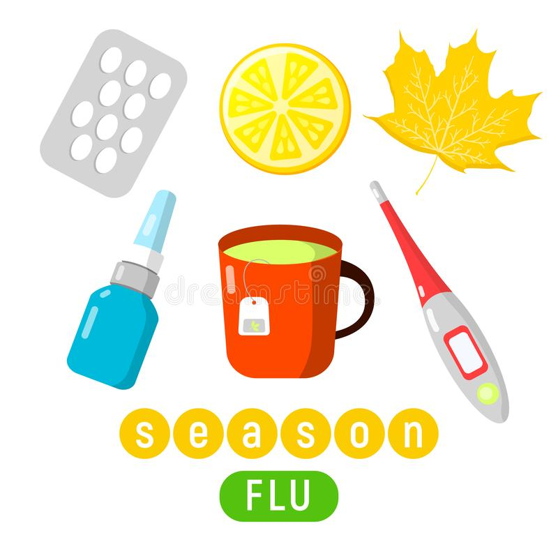 Set of cold and flu season items in vector flat design, hot beverage tea mug, lemon, aspirin pills, thermometer, nasal. Lovely set of cold and flu season items royalty free illustration