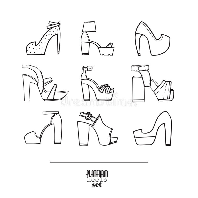 Lovely set with stylish fashion shoes, hand drawn and isolated on white background. Vector illustration showing various platform. Heels shoes and sandals royalty free stock images