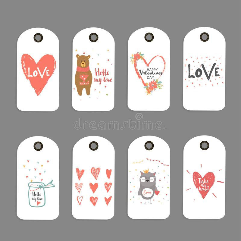 Lovely set of 8 Valentines day gift card, label, tag, badge with royalty free illustration