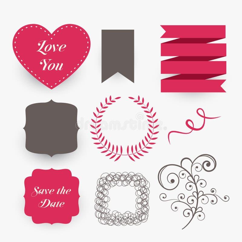 Lovely set of wedding design elements. Vector vector illustration