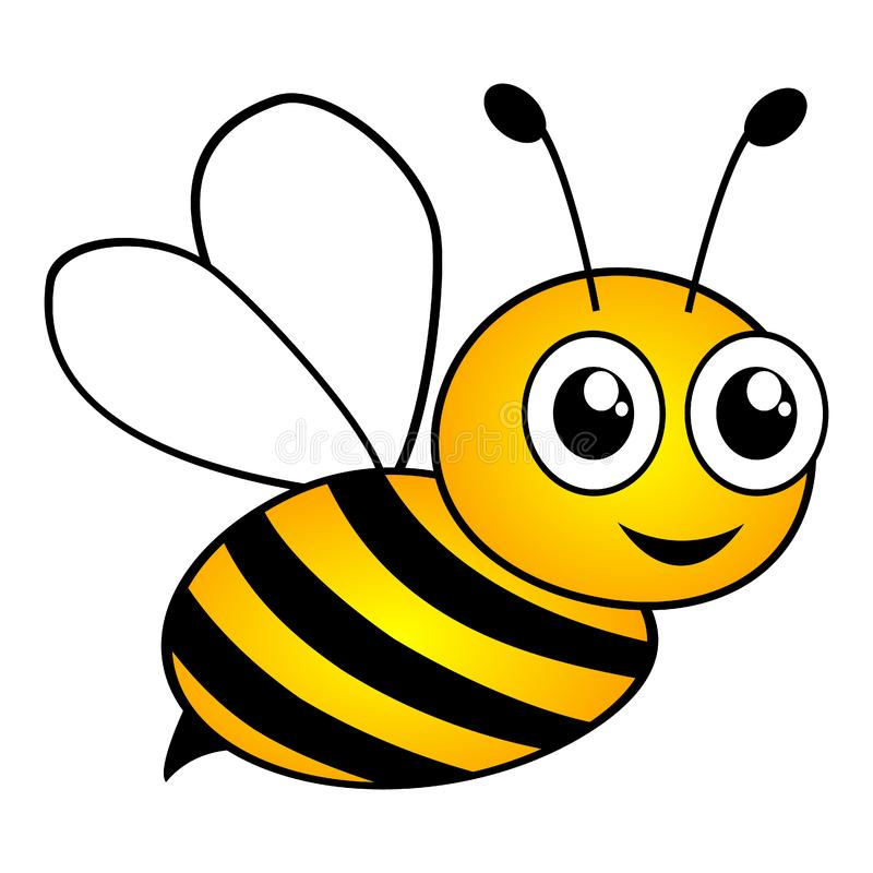 Free Lovely Simple Design Of A Cartoon Yellow And Black Bee On The White Background. Isolated. Royalty Free Stock Photo - 140021825