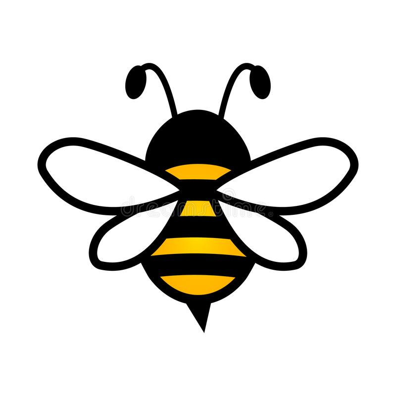 Free Lovely Simple Design Of A Yellow And Black Bee On A White Background Royalty Free Stock Image - 173642496
