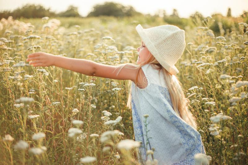 Lovely smiling blond girl in a field at sunset. Cute girl in a flowering field sniffs flowers. Ukrainian in a hat and dress near royalty free stock photo
