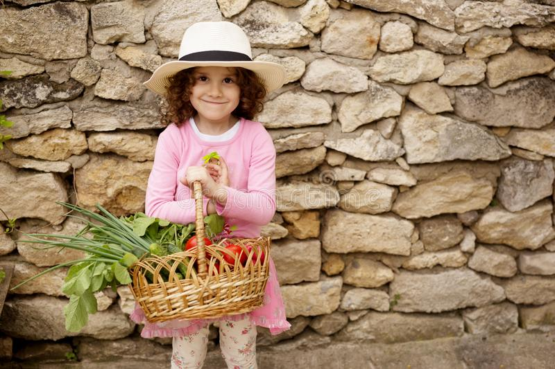 Lovely smiling little curly hair girl in hat, holding a big basket full with vegetables, isolated on a old stone wall. stock photos