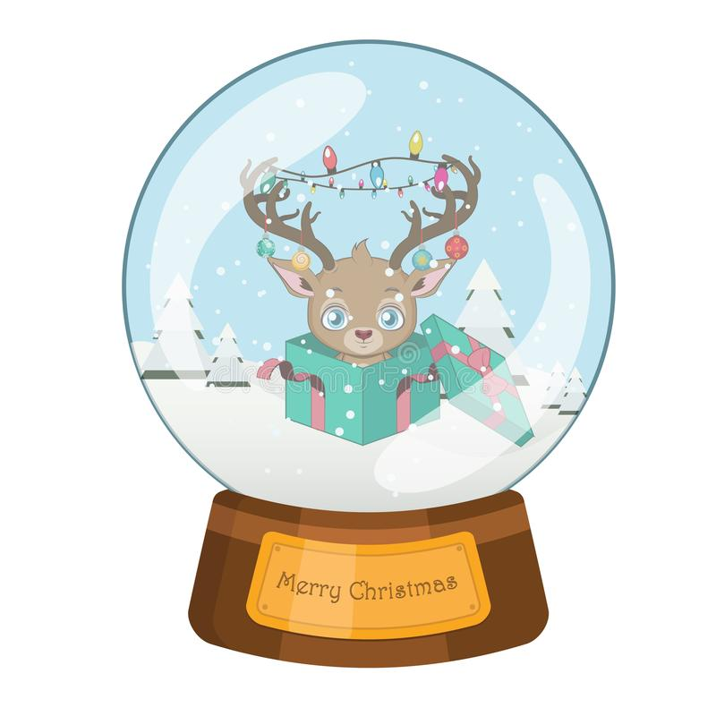 Lovely snowglobe with a Christmas scene stock illustration