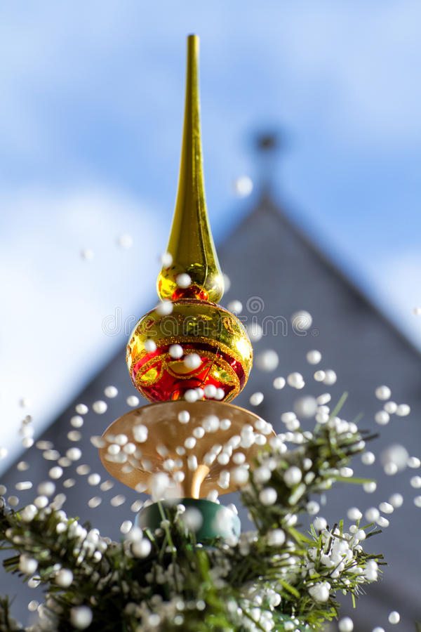 Download Lovely Snowing Christmas Tree Stock Photo - Image of celebration, balls: 16862324