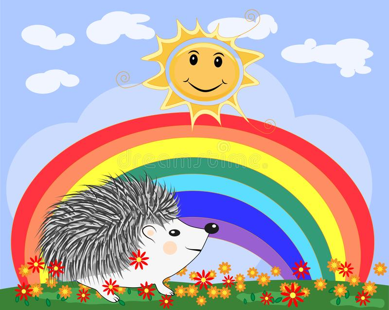 Lovely soapy hedgehog near the seven-colored rainbow in a clear, sunny cheer, a summer day royalty free illustration