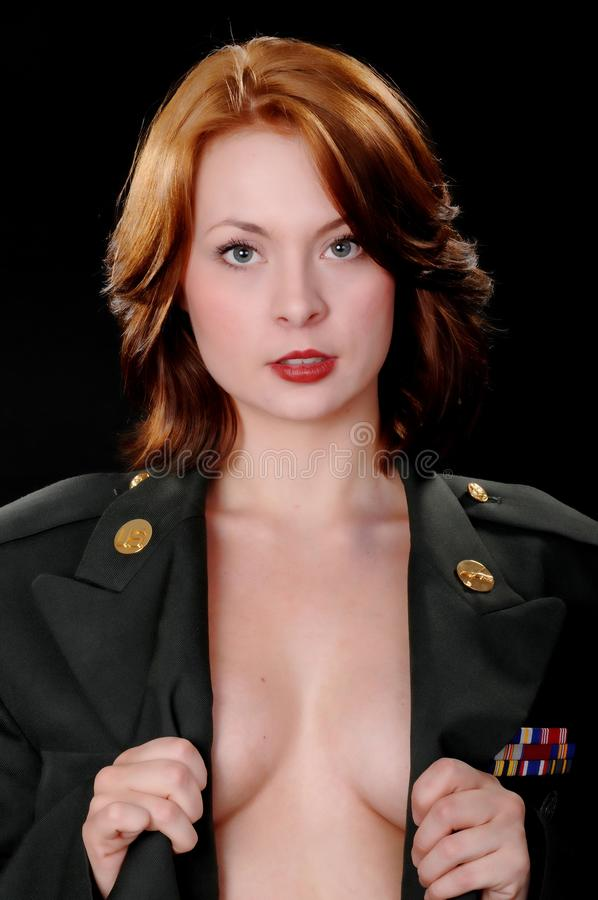 Lovely Soldier Girl. Lovely your girl wearing a soldier's uniform royalty free stock photography