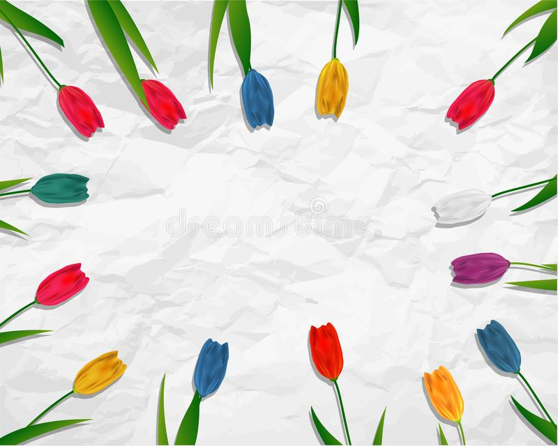 Lovely spring background with tulip flowers vector image vector illustration