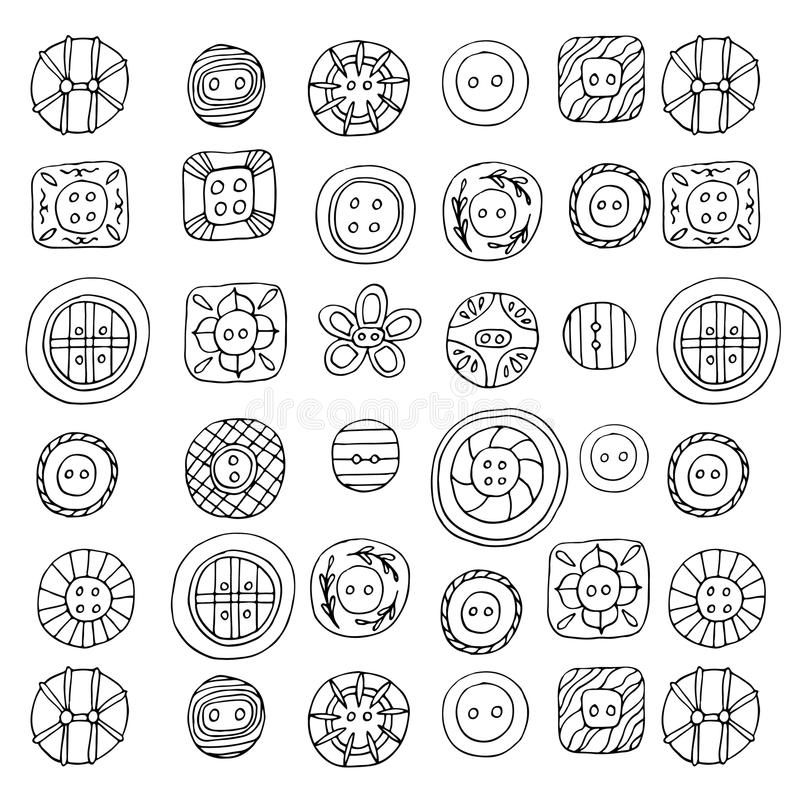 Lovely spring buttons coloring page vector illustration