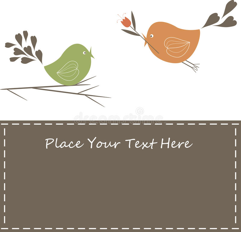 Lovely Spring Design with Flowers and birds. Vector Illustration royalty free illustration